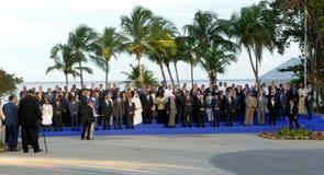 Präsidenten von Delegationen werfen für die offizielle Fotografie im 17. Gipfel der Nicht-ausgerichteten Bewegung auf Stockfotografie