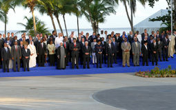 Präsidenten von Delegationen werfen für die offizielle Fotografie im 17. Gipfel der Nicht-ausgerichteten Bewegung auf Lizenzfreies Stockbild