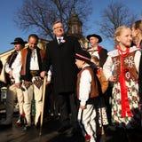Präsidentenkampagne durch BronisÅ-'Aw Komorowski Stockbilder