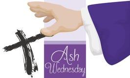 Präst Doing den arga signalen i Ash Wednesday, vektorillustration Arkivfoto