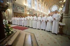 Prästvigningen av 15 Seminarians in till Deaconaten på den Mynooth högskolan på 1st Juni 2014 Royaltyfri Bild