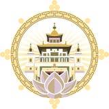 Prålig buddism för logotyp royaltyfri illustrationer