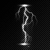 Prålig ljus åskagnista för blixt Vektorbultblixt eller elektricitetstryckvågstorm eller åskvigg på genomskinlig bakgrund arkivfoto