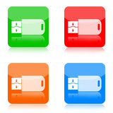 Pråliga drevsymboler för USB Royaltyfria Foton
