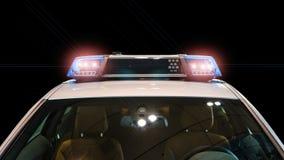 Pråliga ljus och siren på polisbilen fotografering för bildbyråer