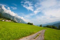 Pré alpestre idyllique avec la route. La Suisse image stock
