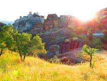 Pré au monastère, Meteora, Grèce Image stock