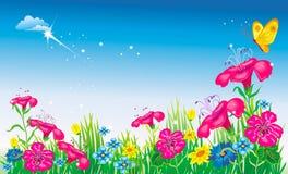 Pré avec des fleurs. illustration de vecteur