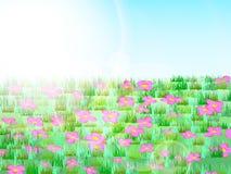 Pré avec l'herbe verte, les fleurs roses, le ciel bleu et la lumière du soleil illustration stock