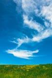Pré, ciel et nuages Images stock