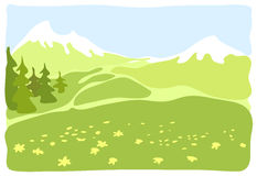 Pré dans une vallée de montagne. Image stock