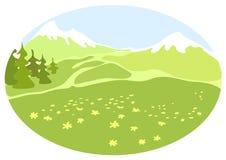 Pré dans une vallée de montagne. Image libre de droits