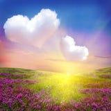 Pré de fleur avec des nuages de coeur Image libre de droits