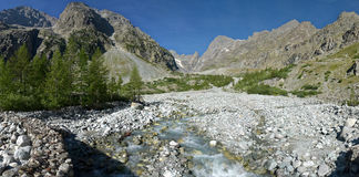 The Pré de Madame Carle in the Ecrins National Park. The Pré de Madame Carle in the Ecrins National Park in the direction of the Glacier Noir Royalty Free Stock Photos