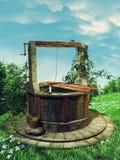 Pré de ressort avec un vieux puits Photos libres de droits