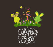 Pré de ressort, oeufs et lapin de Pâques colorés illustration stock