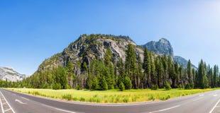 Pré et arbres entourés par les montagnes rocheuses Images stock