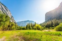 Pré et arbres entourés par les montagnes rocheuses Photos stock