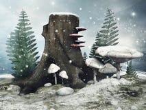 Pré féerique pendant l'hiver illustration libre de droits