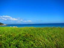 Pré ou champ avec une vue d'océan Photo stock