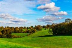 Pré vert anglais un jour ensoleillé, un paysage rural typique o photo stock