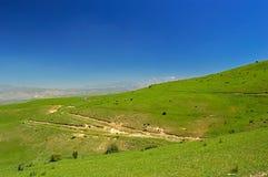 Pré vert avec des montagnes à l'arrière-plan Image libre de droits