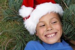 préadolescent s Santa de chapeau de fille Photo stock