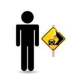 Précaution de panneau routier d'homme de silhouette Images libres de droits