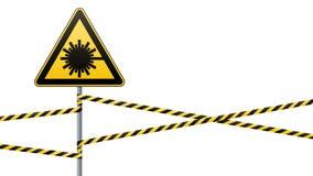 Précaution - sécurité de panneau d'avertissement de danger Danger, rayonnement de laser triangle jaune avec l'image noire connect Images stock