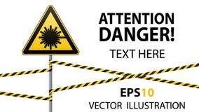 Précaution - sécurité de panneau d'avertissement de danger Danger, rayonnement de laser triangle jaune avec l'image noire connect Photo stock