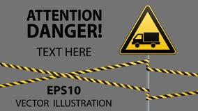 Précaution - sécurité de panneau d'avertissement de danger Prenez garde de la voiture Une triangle jaune avec une image noire Le  Photo libre de droits
