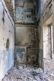 Prédio da escola coberto de vegetação abandonado velho Imagem de Stock Royalty Free