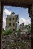Prédio da escola coberto de vegetação abandonado velho Fotos de Stock Royalty Free