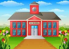 Prédio da escola dos desenhos animados com jarda verde Imagem de Stock