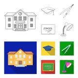 Prédio da escola, faculdade com janelas, um mestre ou chapéu do candidato, compassos para um círculo, uma placa com uma escola do ilustração do vetor