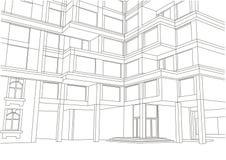 Prédio de apartamentos arquitetónico do esboço Imagens de Stock