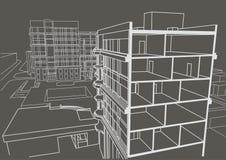 Prédio de apartamentos de vários andares do esboço linear arquitetónico Fundo do cinza do desenho secional Fotos de Stock Royalty Free