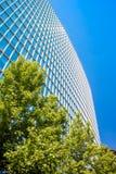 Prédio de escritórios contemporâneo com folhas verdes Fotografia de Stock Royalty Free