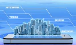 Prédio de escritórios do arranha-céus no telefone Fotografia de Stock