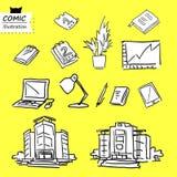 Prédio de escritórios, objetos do escritório (Vetor) Imagens de Stock