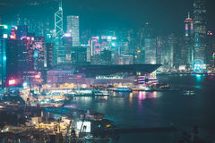 Prédios de escritórios de Hong Kong na noite Imagem de Stock Royalty Free