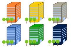 Prédios de escritórios em variações diferentes da cor ilustração royalty free