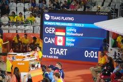 Préliminaires de volleyball de plage des femmes Rio2016 Photos stock