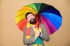 Préparé au jour pluvieux Insouciant et positif Appréciez le jour pluvieux Prévoyez les futures tendances de temps Prise barbue de photographie stock libre de droits