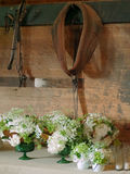 Préparation à un mariage de grange Image stock