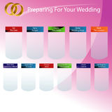 Préparation à votre diagramme de jour du mariage Photographie stock