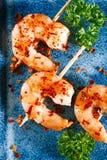 Préparation d'épice de Harissa - chilles d'un rouge ardent morrocan avec des crevettes roses de roi Image libre de droits