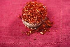 Préparation d'épice de Harissa - les chilles d'un rouge ardent morrocan se sont mélangés Image libre de droits