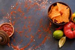 Préparation d'épice de nourriture de frites de nacho de sauce tomate de Salsa photo libre de droits