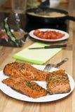 Préparation d'un déjeuner de fruits de mer Photo stock